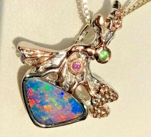 Vintage estate Tree Winged fairy Rose Opal Emerald Colorful Pendant Blue Gold
