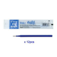 12 pcs PILOT FRIXION ERASABLE BALL POINT GEL PEN REFILL Blue 0.7mm (Fine) -Japan
