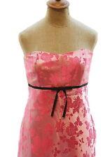 BANANA REPUBLIC Womens Pink Dress Floral Silk Satin Strapless Black Bow Trim 8