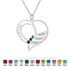Custom Heart Birthstone Name Necklace Personalised Family Gift for Mom Jewelry