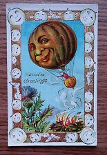 HALLOWEEN GREETINGS - PUMPKIN BALLOON ANTIQUE POSTCARD