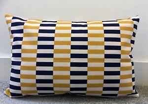 "Navy Blue Mustard Yellow Mini Stripes Cushion Cover 16 X 24"" 40x60cm Rectangle"
