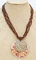 "Vintage Multi Strand Brown Glass Seed Bead 18"" Necklace w 2-1/2"" Shell Pendant"