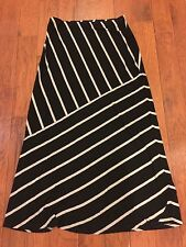 Womens Matty M Black Gray Striped Long Maxi Skirt Size L
