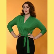 Freddies of Pinewood 1940s Style Emerald Ladies Wrap Blouse Size 12