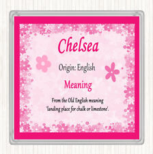Chelsea Name Meaning Drinks Mat Coaster Pink