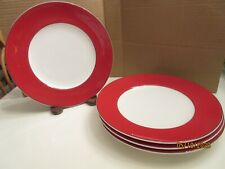 """FOUR LENOX KATE SPADE RUTHERFORD RED  9 3/8""""LUNCHEON PLATES; EXCELLENT,"""