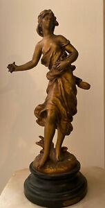Antique  Bronzed Spelter Sculpture/Statue Bataille des Fleurs Signed Hip Moreau