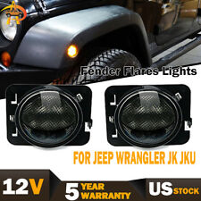 2PCS Front Fender Amber Parking Side Marker LED Smoke Lens Light Jeep Wrangler
