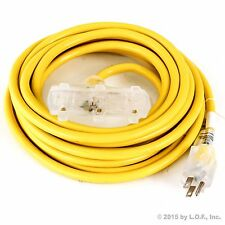 25 ft Extension Cord 3 Plug Lighted 12/3 Gauge Indoor Outdoor Heavy Duty Yellow