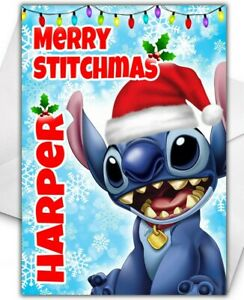 DISNEY STITCH Personalised Christmas Card - Disney Christmas Card