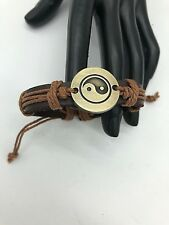 Mens Leather/Brass Cuff Bracelet Yin-Yang 'Tan' Mens Gifts