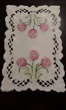 """2pcs 12""""x18""""Embroidered Placemat Pink Tulip Floral Table Topper  Home Decor"""