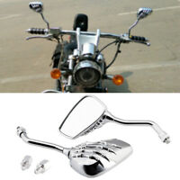 Motorcycle Chopper Skull Hand Rearview Mirrors 8/10mm Chrome For Honda Shadow VT