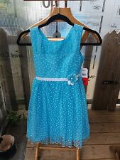Stunning girls Jona Michelle Turquoise & White Spot Party Dress Age 8 Years
