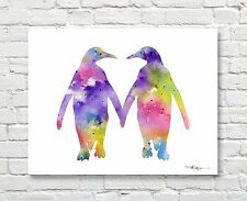 Penguin Love Abstract Watercolor Painting Animal Art Print by Artist DJ Rogers