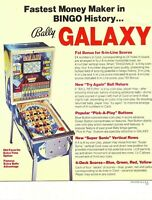 Galaxy Pinball FLYER Bally Original 1978 NOS Bingo Arcade Game Artwork Sheet