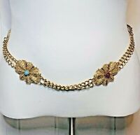 Metal Medallion Chain Belt With Faux Stones Gold Tone 32 inches