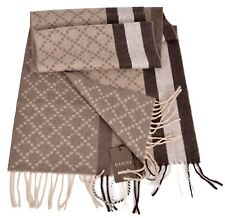 New Gucci 333019 Angora Wool Taupe & Brown Web Stripe Diamante Scarf Muffler