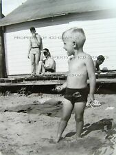 Vtg CUTE YOUNG BOY SWIMWEAR BATHING SUIT BEACH Black & White PHOTO 1940's 1950's