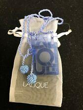 LALIQUE Crystal  Pendant, Cornflower Blue, Art Deco Font.  Pre Owned/Unworn