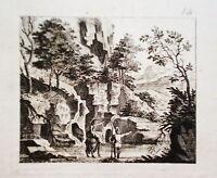 Südliche Landschaft  Frau Esel Kobell  Kupferstich 1750