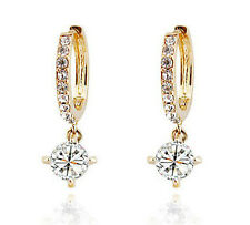 Austrian Crystal Gold with White Zircons Rhinestone Hoops Earrings E291