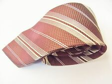 Patterned Burgundy & White Stripe Design Made Italy Silk Mens Tie
