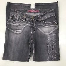 Sinful Womens Jeans 30x28 Gray Distressed Bootcut w/ Asian Design On Leg Hemmed