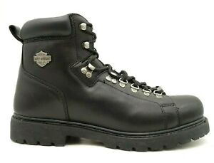 Harley Davidson Logo Black Leather Lace Up High Ankle Riding Boots Men's 12