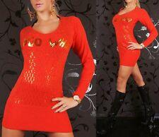 Sexy Miss Long Pullover V Pulli Strick Mini Kleid gold pailletten 34/36/38 rot