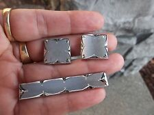 Vintage Anson sterling silver diamond cut cuff links and tie clip set 39 grams.