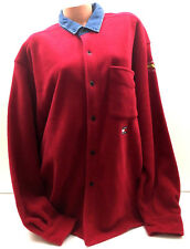 Vintage Tommy Jeans Aviator Denim Men Shirt Fleece Button Color Block Flag Red M