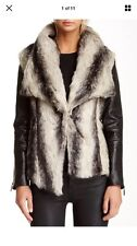 New Stella & Jamie BW Faux Fur Genuine Leather Jacket NWT $480 M