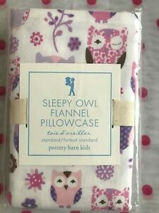 NEW Pottery Barn Kids PINK  SLEEPY OWL Flannel Pillowcase   -  HOLIDAY!  RARE!