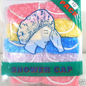 SHOWER BATH CAPS 10 SHOWER CAPS (ONE PACK)  ADULT