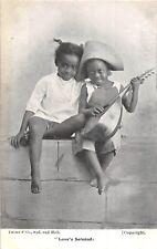 POSTCARD  COMIC  BLACK  HUMOUR  CHILDREN   Love's  Serenade