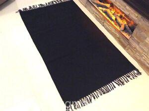 ECO Friendly Plain DARK BLACK Fair Trade Recycled Cotton Rich Yarn Rugs -40%OFF