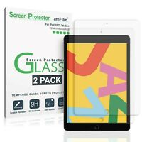 """iPad 10.2"""" Screen Protector - amFilm Tempered Glass for iPad 7th Gen (2 Pack)"""