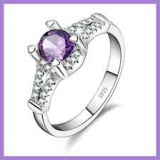 STERLING SILVER RING with ROUND PURPLE and MULTIPLE SMALL CLEAR CUBIC ZIRCONS