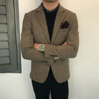 Men Houndstooth Suits Formal Blazer Vintage Wool Blend Tuxedos Wedding Prom Cool