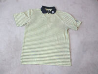 Footjoy Golf Polo Shirt Adult Large Yellow Blue Striped Dri Fit Casual Mens *