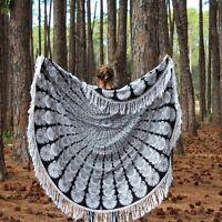 Hippie Indian Peacock Mandala Round Roundie Black Throw Tapestry Beach Yoga Mat