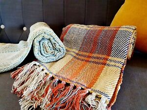 Recycled Blanket Boho Throw 120x150cm Yoga Camping Garden Beach Picnic Hippie