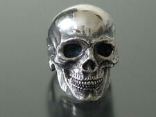 EXTRA LARGE STERLING SILVER SKULL RING  MASONIC 925 HANDMADE mens ring biker