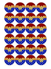 24 WONDER WOMAN EDIBLE WAFER PAPER PARTY CUPCAKE DECORATION CAKE IMAGES TOPPERS