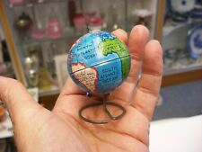 "Vintage Toy Tiny Miniature Tin World Globe 2 1/2"" Tall"