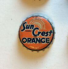orange SUN CREST SODA cork crown cap TORONTO CANADA bottle acl top flat cone tin