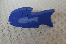 Handmade Wooden Fish Puzzle~Children Christian decor~5 piece~Jigsaw craft~blue
