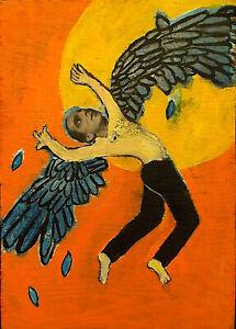 ICARUS Raw Folk Art Brut Painting Outsider T. Marie Nolan Original Vision